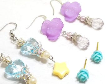 Rose Floral earring set of three (pastel blue and purple)