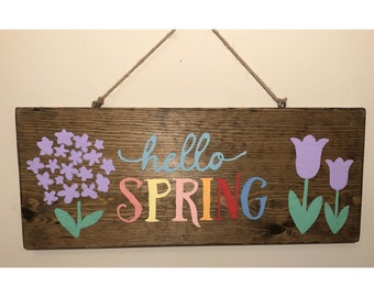 Hello Spring- Rustic Easter Sign
