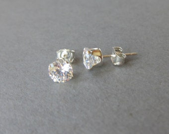 Sterling Silver CZ Diamond Stud Earrings, fake Diamond Earrings, Simple Earrings, large crystal studs bridesmaid gift, wedding jewelry