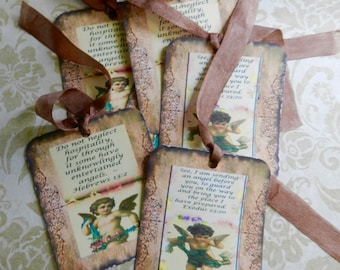 Scripture Gift Tags Angel Gift Tags Bible Verse Gift Inspirational Tags