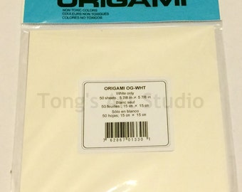 White Origami Paper, 5-7/8 inch (15cm) origami paper, Set of 50 sheets