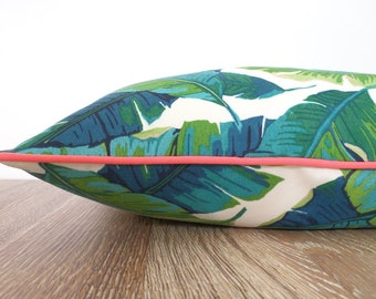 Tropical outdoor pillow cover, banana leaf pillow case Palm Beach Decor, green and coral outdoor cushion cover swaying palm leaf print