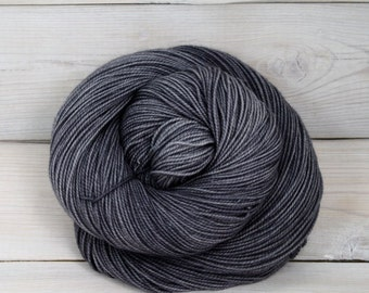 Celeste - Hand Dyed Superwash Merino Fingering Sock Yarn - Colorway: Charcoal