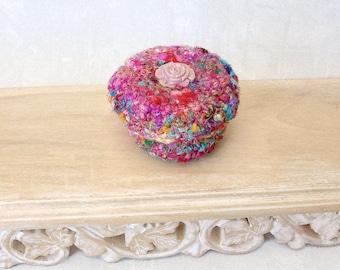 Silk Sari Basket - Vintage Rose Flower Button Embellished Handmade Basket with Lid - Valentine's Day, Mother's Day, Wedding Anniversary Gift