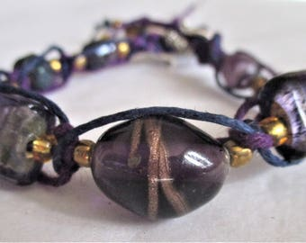Deep Purple, Women's Braided and Beaded Bracelet