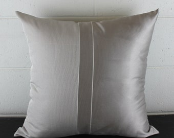 Silver and Smokey Grey Contrast Art Deco Cushion Cover by Peacock and Penny. 50cms x 50cms