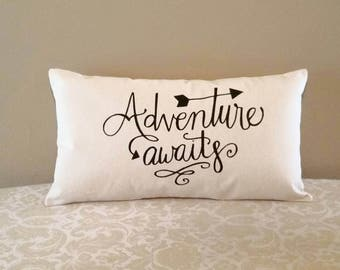 Adventure Awaits Pillow | Adventure Seeker Gifts | Graduation Gifts | Going Away Gifts | Bon Voyage, Wanderlust, High School, College