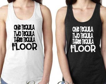 One Tequila Two Tequila Three Tequila Floor Next Level Women's Racerback Tank Top