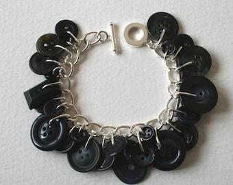 Button Charm Bracelet Blue Black