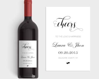 Wedding Wine Labels, Wedding Wine Label Template, Cheers Wine Label Templates, Calligraphy Wine Label, Custom Wine Labels, DIY You Print