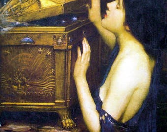 Waterhouse Pandora's Box Painting Print on Canvas Ready to Hang Museum Quality
