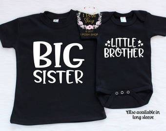 Big Sister Little Brother Outfit, Big Sister Shirt, Little Brother Shirt, Sibling Shirts, Matching Brother Sister Gifts, Baby Shower BSLB