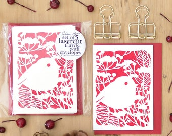Set of 5 Christmas cards, Christmas card set, Christmas card pack, Robin cards, Holiday cards, Robin papercut cards, Christmas cards
