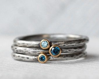 Tiny Blue Diamond Blue Zircon Ring Set - 18k Gold and Silver Stack Rings - Set of 3 Diamond and Zircon Stack Rings - Eco-Friendly Recycled