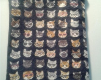 zipper pouch, medium, cats with glasses