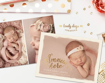Birth Announcement Template Photoshop INSTANT DOWNLOAD
