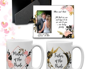 Parent Wedding Gift Thank You Set | Wedding Frame | Mother of the Bride Groom Mug | Father of the Bride Groom Cup | Parent Gift Box