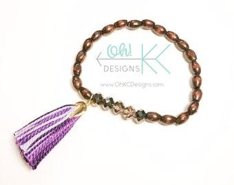 Bracelet - Brown and Purple wood bead bracelet