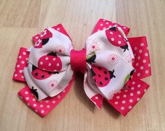 Ladybug Hair Bow - Pink Ladybug Toddler Hair Bow - Ladybug First Birthday Bow