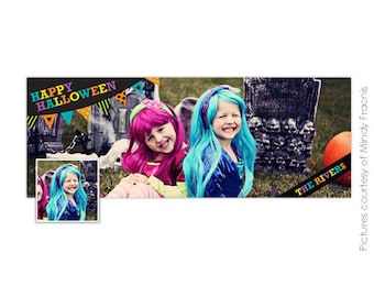 INSTANT DOWNLOAD - Halloween Facebook timeline cover Photoshop template -E539