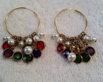 Gold Tone Vintage Hoop Pierced Earrings with red, green, purple Beads and Faux Pearls dangle on chains