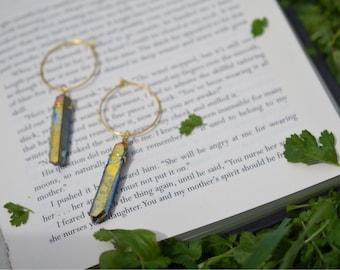 Rainbow Aura Quartz Earrings