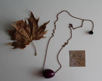 Seed necklace of Tagua, necklace tagua, vegetable ivory necklace, necklace with cotton pendant, Tagua color marc, copper-coloured chain