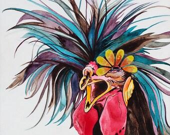 Chicken Art, Kitchen Wall Decor, Chicken, Trending Now, Polish Rooster, Chickens, Rooster, Chicken Decor, Best Selling Art, Chicken Painting