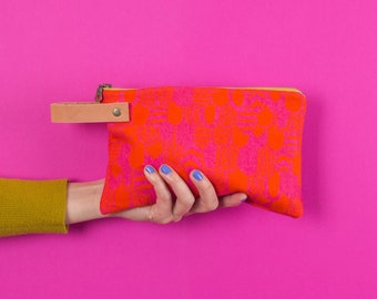 Pouch #1  | Canvas Leather Zippered Pouch, Wallet, Carryall, Colorful, Hand Printed, Pattern, Unique, Fuchsia, Orange, Feathers