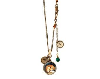 Small Fox Malachite Crystal Pendant Necklace