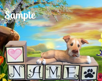 Red nose Pit Bull Terrier Dog natural ears PERSONALIZED with your dog's name on blocks by Sally's Bits of Clay