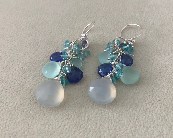 Semiprecious blue gemstone earrings in sterling silver and holy blue chalcedony, tanzanite, aqua blue chalcedony, blue topaz and apatite