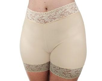 Beige Biker Shorts Shaping Underwear Nude Lace Shorts