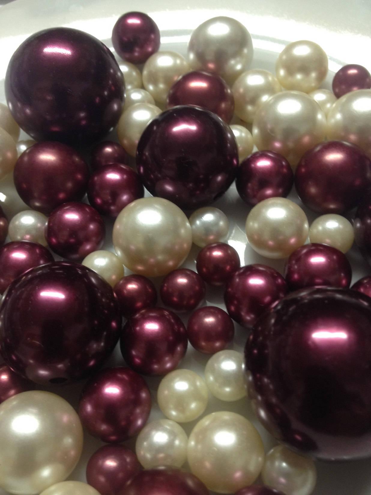 Burgundyivory decorative jumbo pearls vase fillers table zoom reviewsmspy