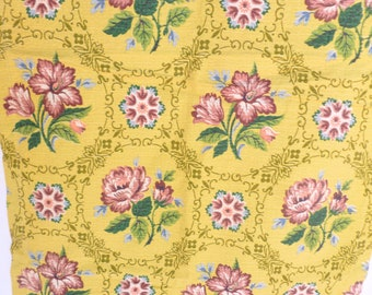 Barkcloth Fabric Curtain Panels Destash Yardage Cutter Remnants Repurpose Upcycle Yellow Floral Print