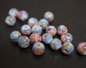 Japanese White Round Porcelain Beads with Classic Baby Blue PInk Peony Flowers Beads - 6mm - 6 pcs