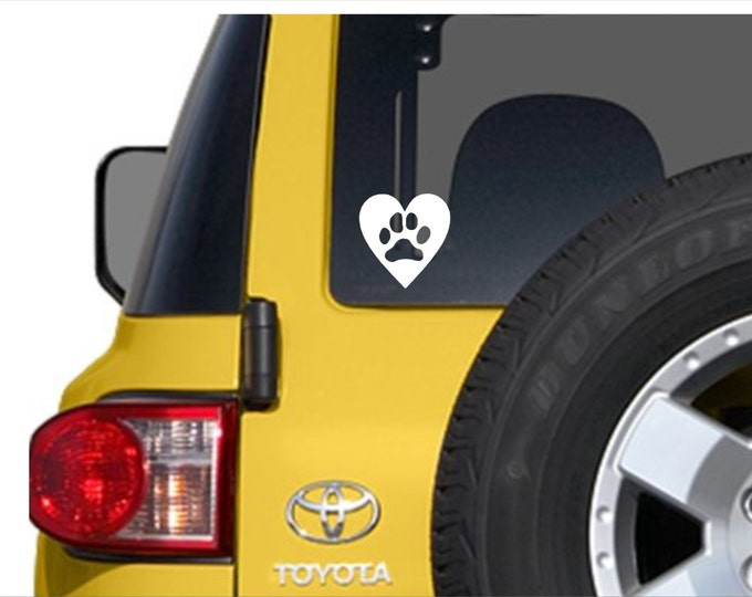 Heart with paw print. Vinyl decal.