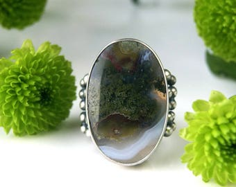 A New Universe - Moss Agate Sterling Silver Ring