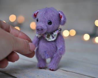 Artist jointed miniature pig - miniature handmade piggy - collectable piggy - Artist Teddy Pig NIF-NIF