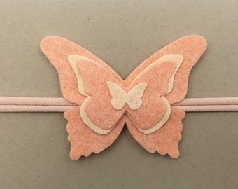 Peach Butterfly Headband