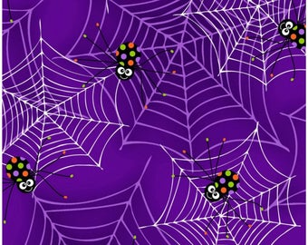 Fangtastic Glows In The Dark Purple Spiders on Webs Fabric Halloween Fabric Glows in the Dark Sold by the Half Yard In Continuous Cut