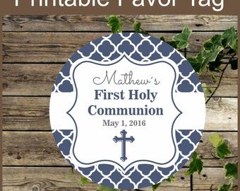 Holy Communion Navy Blue Printable Favor Tags - Printable Label- Religious Party Printable - Primera Comunion niño - Personalized Favor Tag