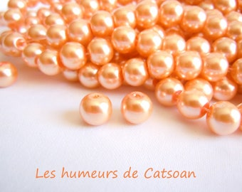 100 glass Pearl round 8mm salmon color