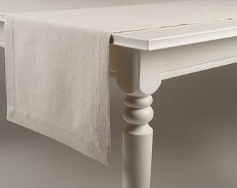 Table runner Hand made of natural linen cotton blend fabric