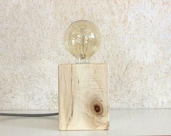 Block Wood Side Lamp | Up-cycled - Handmade