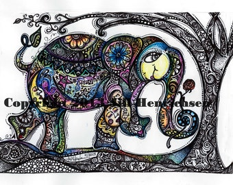 Whimsical COLOR Elephant Design (Black and White) 8x10 or 11x14 Print