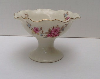 Porcelain Dish With Pink Flowers and Gold Trim