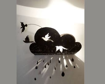 Child birds and clouds metal wall lights
