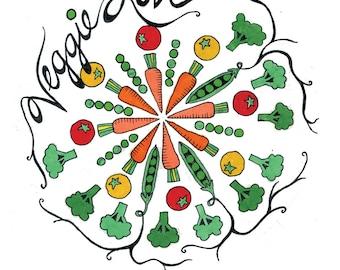 Veggie Love Mandala Print