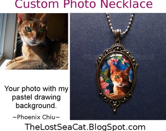 Custom cat Necklace- Custom dog Necklace - Custom Photo Charm/Pendant/ Necklace -Custom Photo Jewelry -30 x 40 mm glass dome